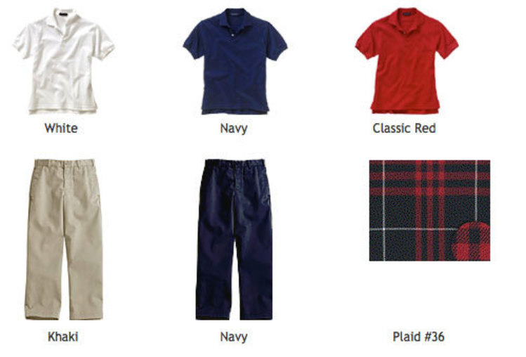 White, navy, or classic red, collared, pull-over shirts and khaki or navy, dockers-style pants
